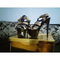 Zapatos Luciano Marra/talle 38/color Negro Y Oro/taco Aguja.