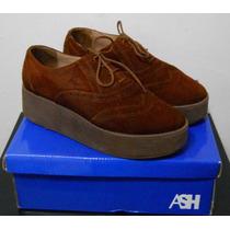 Zapatos Ash Con Plataforma Acordonados N°38 Cuero Gamuzado