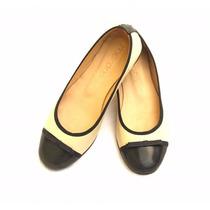 Clippate Chatitas Ballerias Zapatos Bajos Cuero Blanco Negro