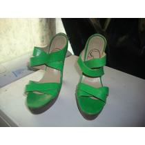 Sandalias Exclusivas Color Verde T 36 En Cuero Cabritilla