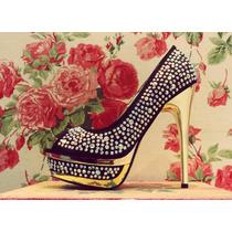 Zapatos Mujer Importados Plataforma Taco Negro Piedra Fiesta
