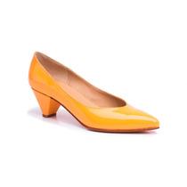 Zapato Stiletto Bajo Charol Caramelo Claro #3882 - Natacha