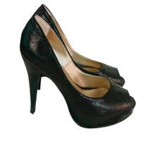 Zapatos Sandalias Stilettos Boca Pez Negros Dorados Ecocuero