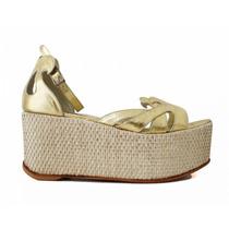 Plataformas Zapatos Sandalias Cuero Dorado Casamiento Fucsia