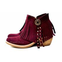 Zapatos Botas Botinetas Con Plataforma Cuero Gamuzado Bordo