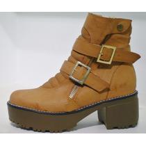 Botas Borcego Cierres Mujer Zapatos Plataforma Goma Tractor