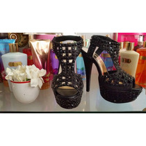 Sandalias Stiletto Negras C/ Piedras Y Glitters! Importadas