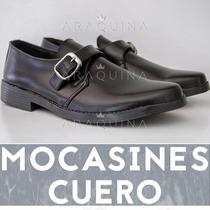 Zapato Cuero Hombre Vestir Clásico Mocasin Hebilla- Araquina
