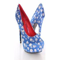 Zapatos Mujer Importados Plataforma Taco Calaveras Azul