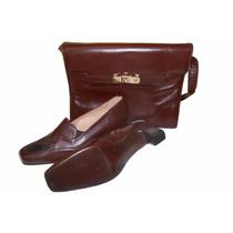 Zapatos +cartera De Cuero Vaca Napa Ropa Mujer Lote Conjunto