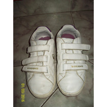 Zapatillas Blancas En Cuero Le Coq Poco Uso Con Abrojo 37
