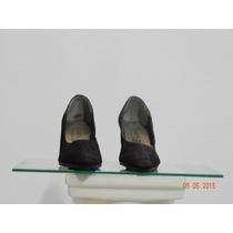 Zapatos Negros De Raso Opaco Trabajado, N° 36