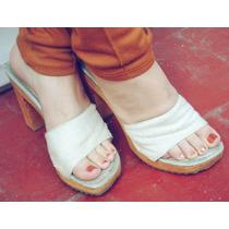 Zapatos Con Terciopelo Blanco De Madera,ideal Para El Verano