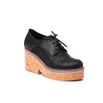 Zapato Cuero Reptil Negro Plataforma Corcho #3223 - Natacha