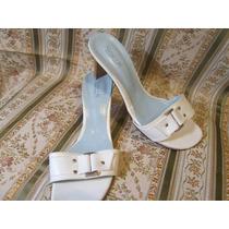 Sandalia Blanca New.k Color Blanco Cuero Con Cinturon