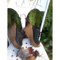 Zuecos Zapatos Plataforma Cuero Primavera/verano Nuevos!!!