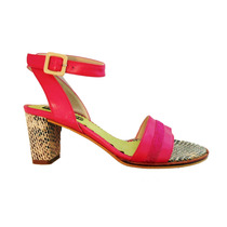 Sandalias Cuero Fuscia Y Reptil Taco 6cms - Frou Frou Shoes
