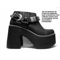 Botas Zapatos Cuero Charros Con Plataforma Taco Campana