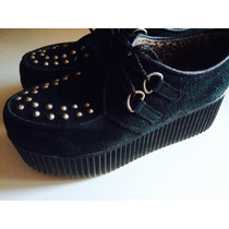 Zapatos Gamuza Negros Con Plataforma Alta Tachas Plateadas