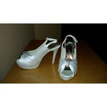 Zapatos De Novia O Fiesta Blancos Satinados Strass Stiletto