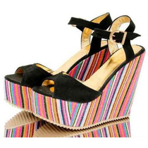 Zapatos Sandalias Plataforma Rayada Caminaconlola