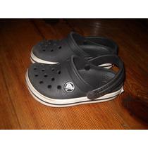 Suecos Crocs Crossband Negros Talle 8-9 En Perfecto Estado