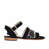Zapatos Sandalias Bajas En Cuero Negro Con Tiras