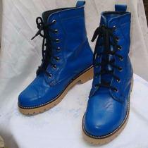 Zapato Borcegos Mujer De Cuero Colores Caña Media Liquido