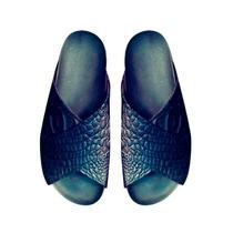 Clippate Sandalias Zapatos En Cuero Croco Blanco Negro