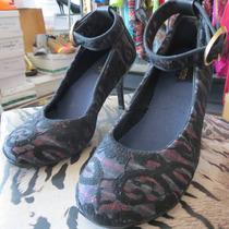 Zapatos De Encaje Engro 36 Y 37 Taco 7 Cms Punta Redonda