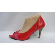 Punto Pie Zapatos Boquita Pez 40 Charol Rojo Con Volado Gasa