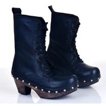 Zapato Mujer Plataforma Madera Botita Alta Almacen De Cueros