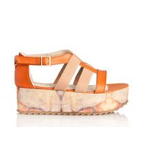 Sandalias De Cuero Y Elásticos Con Plataforma Camuflada