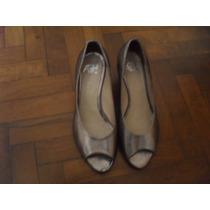 Zapatos De Cuero Y Suela Plateados Marca Ash Nro 38