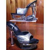 Zapatos Importados Plataforma Taco Acrilico Alto Charol
