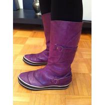 Botas De Cuero Violetas Talle 39. Divinas, Como Nuevas!