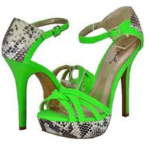 Sandalias Stilettos Verde Fuo Reptil Importadas Tango Salsa
