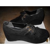 Botinetas Botas Plataforma Zapatos Cuero Gamuzado Como Nuevo