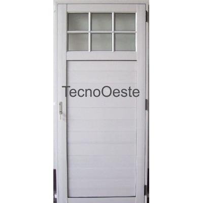 Puerta exterior aluminio blanco 1 4 vidrio repartido for Sofa exterior aluminio blanco