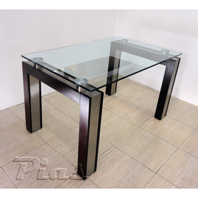 Mesa vidrio inc 15 mm acero inoxidable madera lustrada for Diseno de mesa de madera con vidrio