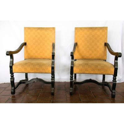 Antiguo par de sillones sillas madera tallada - Sillones de madera antiguos ...