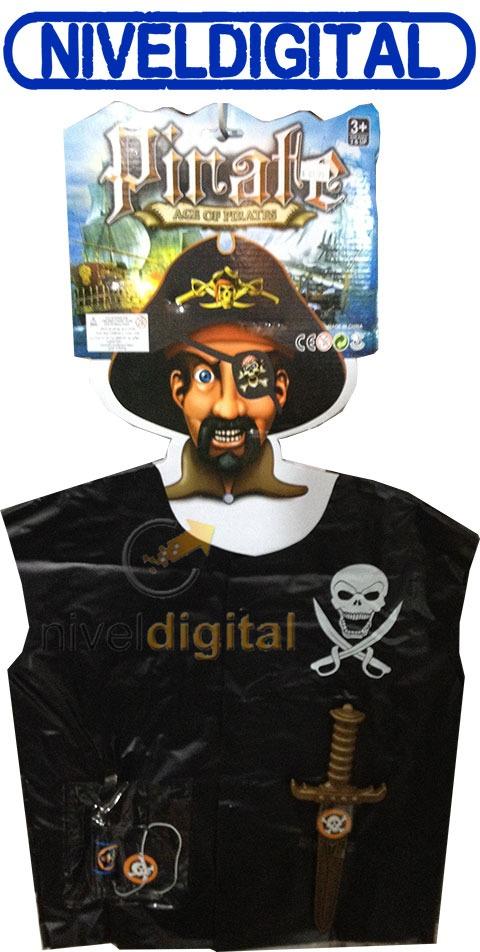 Disfraz De Piratas Con Parche Catalejo Chaleco Y Espada
