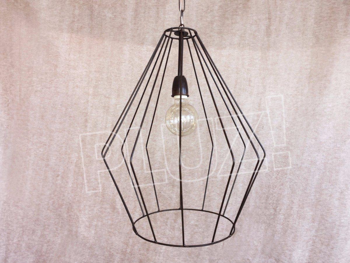 Lámpara Colgante Diamante Grande - Jaula Hierro &O...