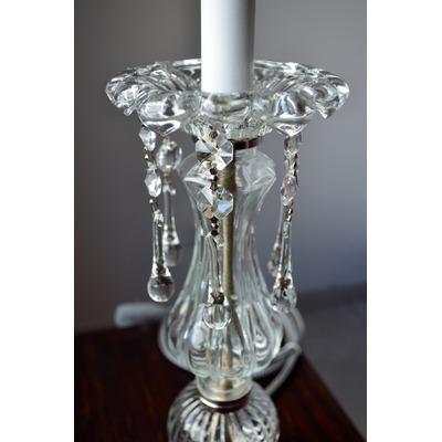 Velador candelabro lampara mesa vidrio 1 luz caireles diseño ...