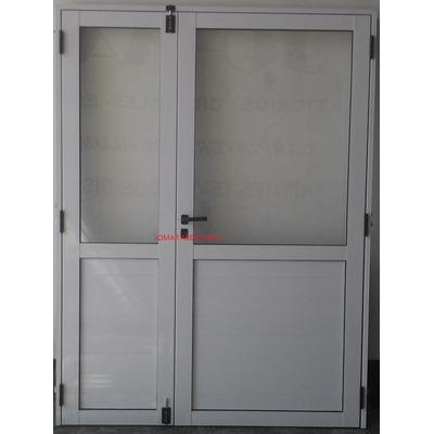 Puerta de aluminio doble 1 50 x 2 00 1 2 vidrio entero for Aberturas de aluminio puertas
