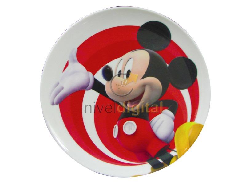 Plato Melamina Atoxico Infantil Personajes Minnie Mickey