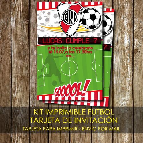Kit Imprimible Tarjeta De Invitación Futbol River Plate En