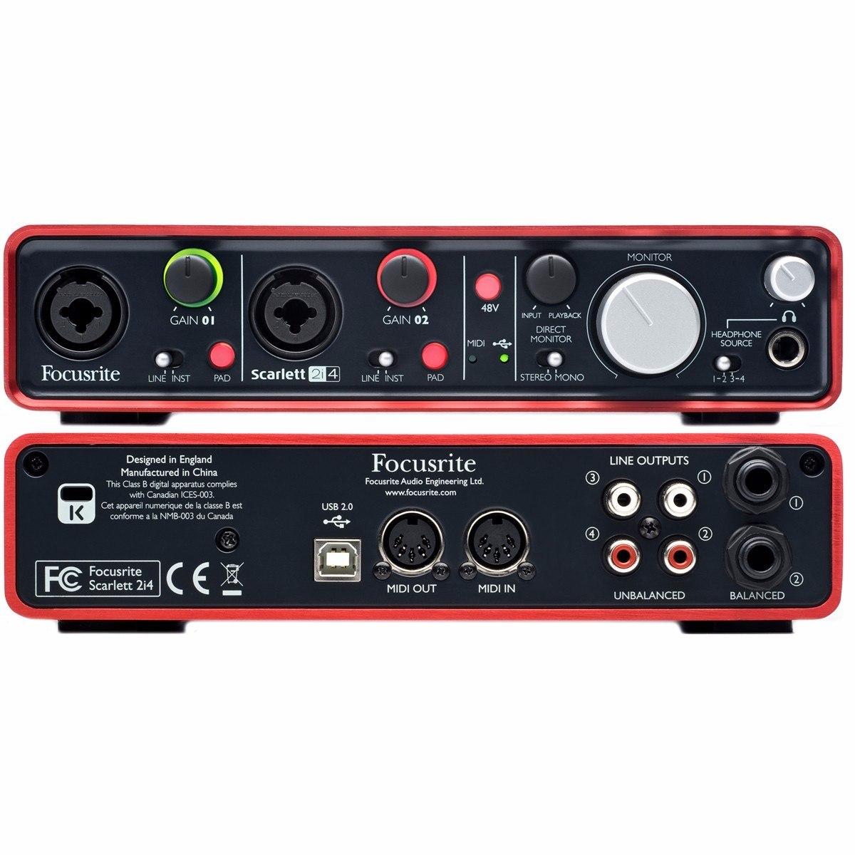 Placa De Audio Focusrite Scarlett 2i4 Usb 2.0- 2 Entradas