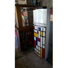 Vinilo Decorativo Mondrian Modelo Original! Heladeras-pared