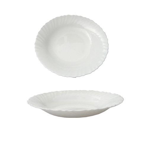 Set X 6 Platos Hondos Vidrio Blanco Resiste Microondas